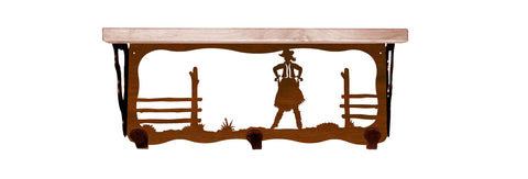 "Cowgirl Metal 20"" Wall Shelf with Hooks"