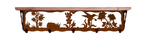 "Hummingbird Metal 34"" Wall Shelf with Hooks"