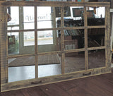 Homesteader 12 Pane Extra Large Barnwood Window Mirror
