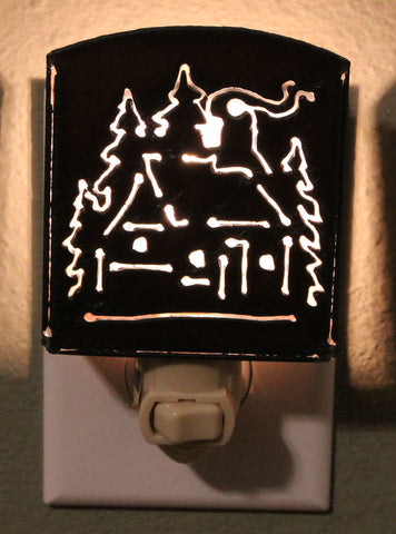 Cabin in the Pines Metal Night Light - Inspired by the Outdoors