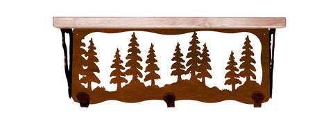 "Pine Tree Metal 20"" Wall Shelf with Hooks"