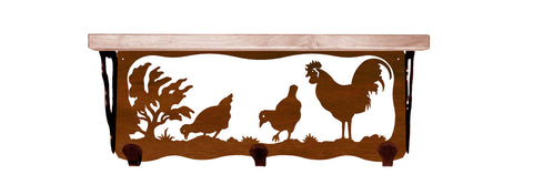 "Rooster Metal 20"" Wall Shelf with Hooks"