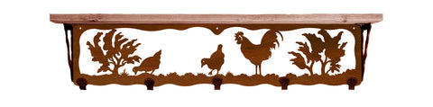 "Rooster Metal 34"" Wall Shelf with Hooks"