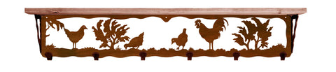 "Rooster Metal 42"" Wall Shelf with Hooks"