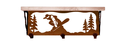 "Snow Boarder Metal 20"" Wall Shelf with Hooks"
