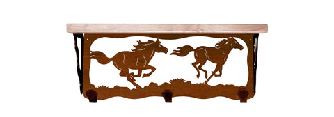 "Wild Horse Metal 20"" Wall Shelf with Hooks"