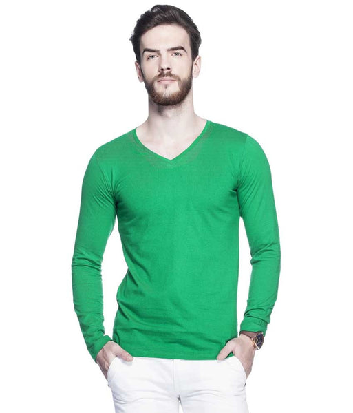 Green Solid V Neck T Shirt