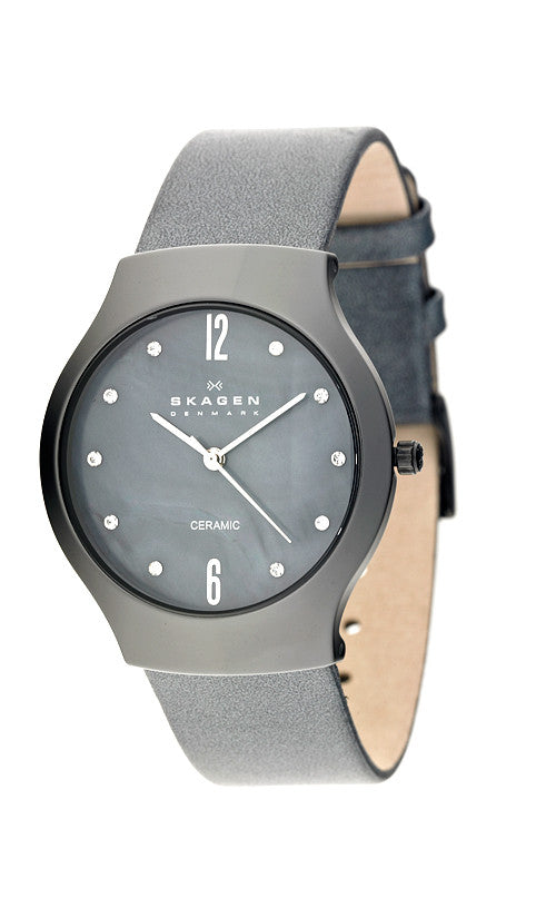 Skagen Womens Watch Midnight Blue Leather Band Mother of Pearl