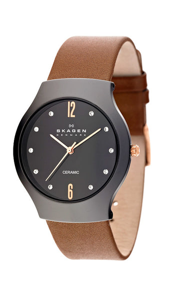 Skagen Womens Watch Brown Leather Band Black Dial