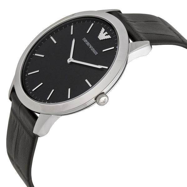 Armani retro black dial black leather strap mens watch
