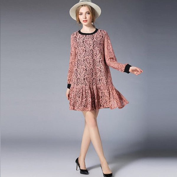 2018 spring new plus size women's clothing lace Hollow out dresses long sleeve loose mini dress crew splicing dresses XL to 5XL