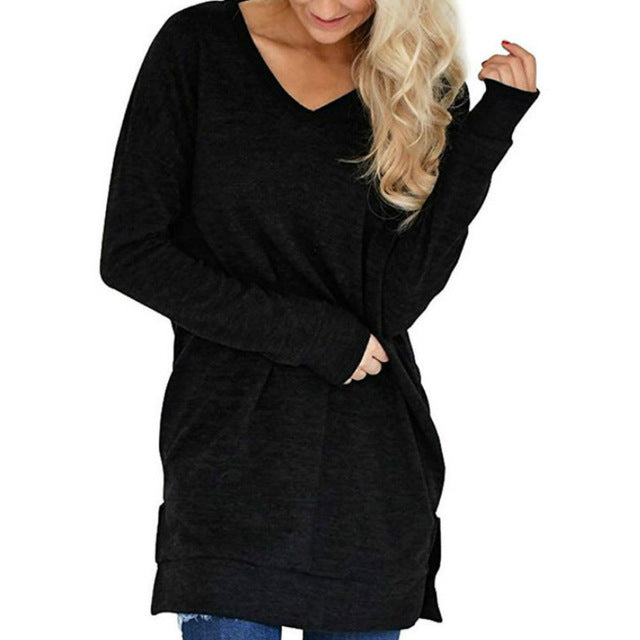 Winter Casual Autumn Shirts Loose V-neck Long T-shirts Women Top Solid Baci Tee Shirt Plus Size Bottoming Pockets Shirts GV206