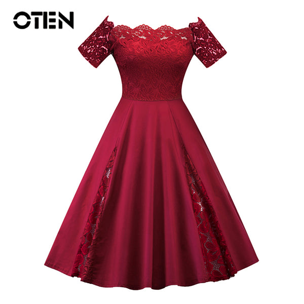 OTEN Women summer dresses plus size 5XL Short sleeve Slash Neck Lace Patchwork Knee Length Sexy Vintage Dress vestidos de fiesta
