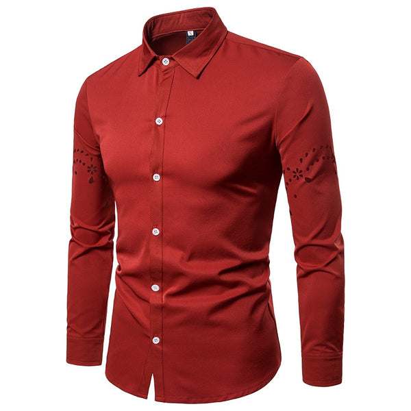 Fashion Men's Autumn Casual Shirts Long Sleeve Shirt Hollow Shirt  Top Blouse
