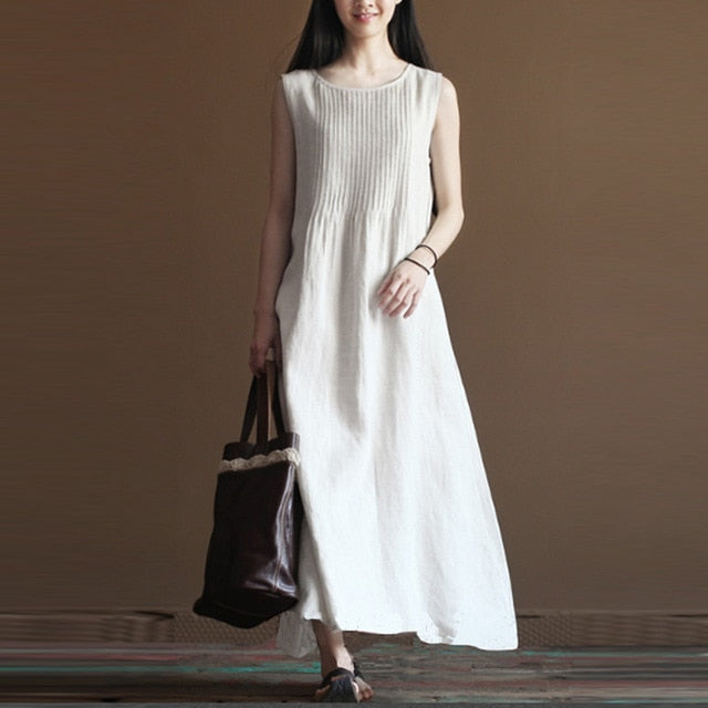 2018 ZANZEA Elegant Summer Women Pleated O Neck Sleeveless Cotton Linen Party Beach Long Dress Loose Solid Vestido Plus Size