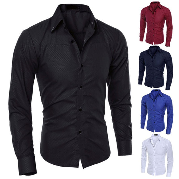 1x  Luxury New Fashion Mens Slim Fit Shirt Long Sleeve Dress Shirts Casual Shirt Top