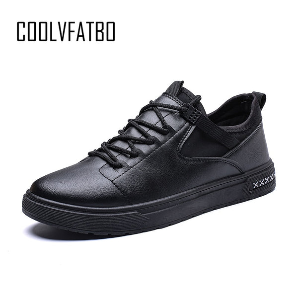 COOLVFATBO Men's Vulcanize Shoes shallow designer sneakers for men massage hard-wearing leather man shoes student Shoes