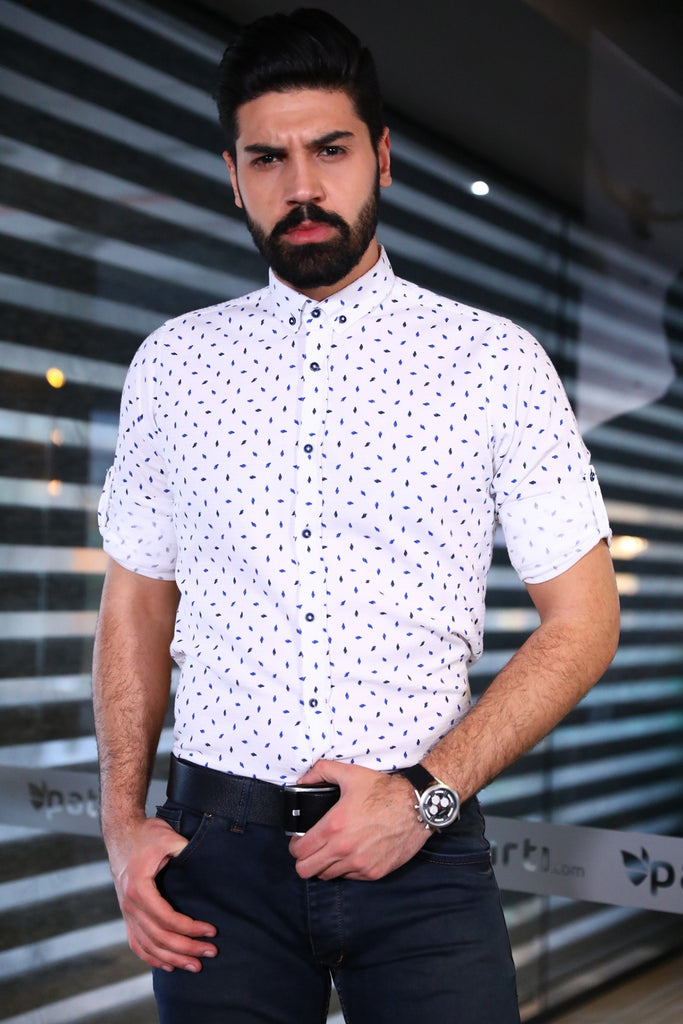Button Detail Patterned Shirt