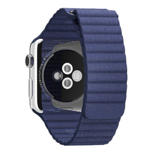 Apple Watch 42mm Stainless Steel Case Leather Loop MLFC2 (Bright Blue)