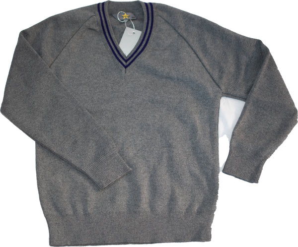 Grey-school Purple trimmed jumper