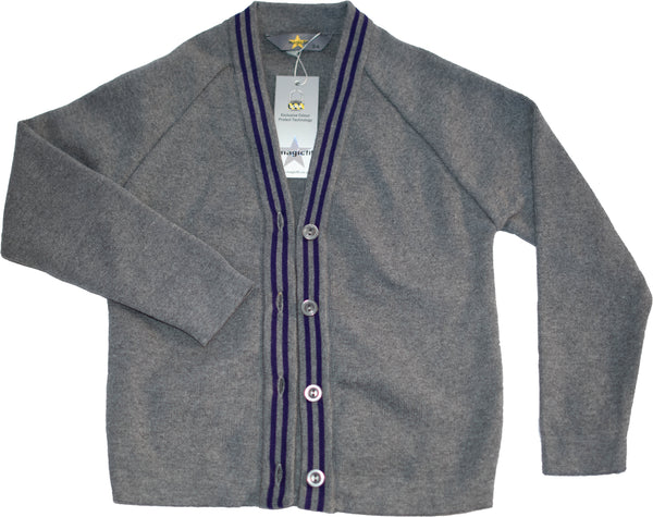 Grey-school purple trimmed cardigan