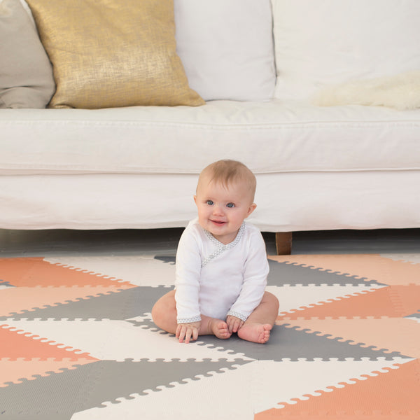 Playspot Geo Foam Floor Tiles <br/> Grey & Peach