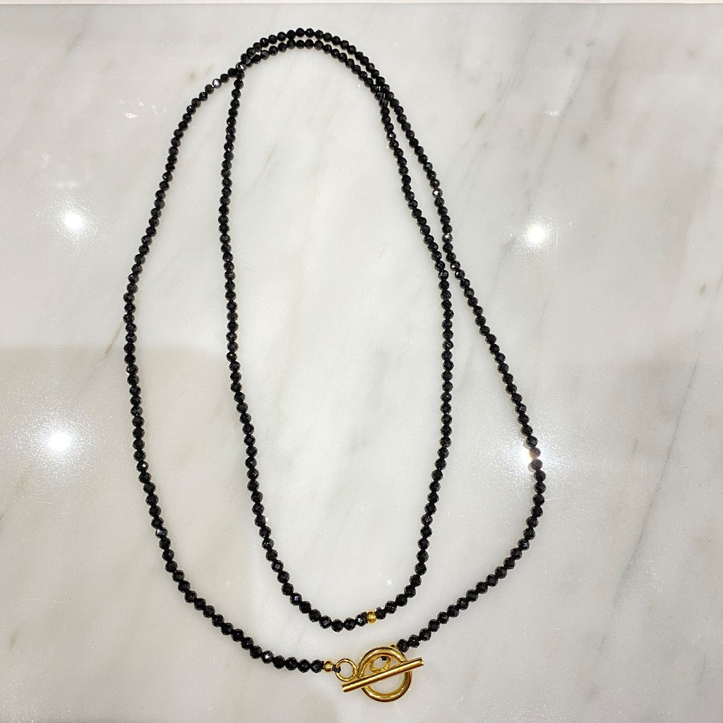 Long Necklace <br/> Precious Beads <br/> Solid Black