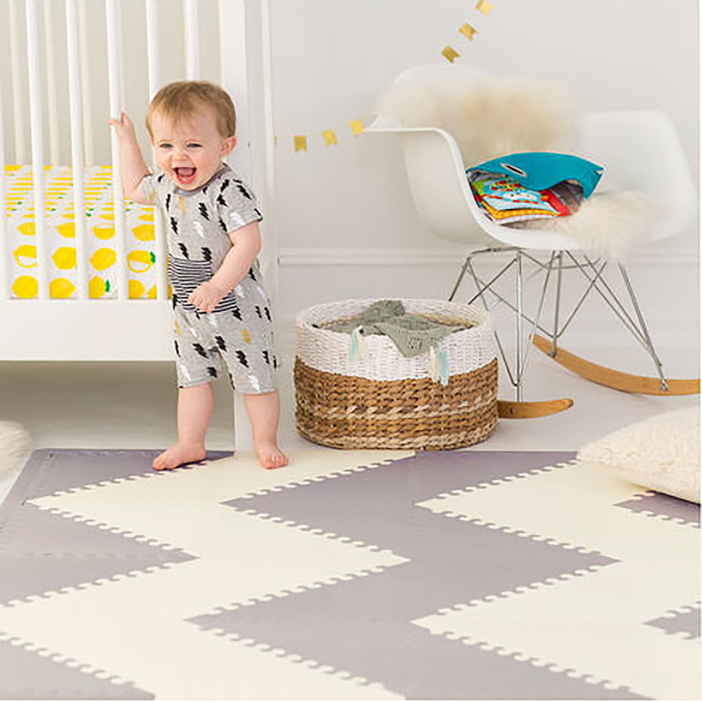 Playspot Geo <br/> Foam Floor Tiles <br/> Grey & Cream