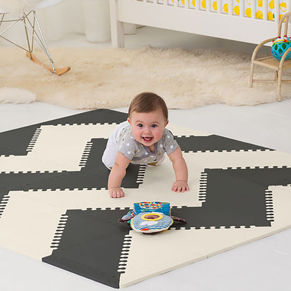 Playspot Geo Foam Floor Tiles <br/> Black & Cream