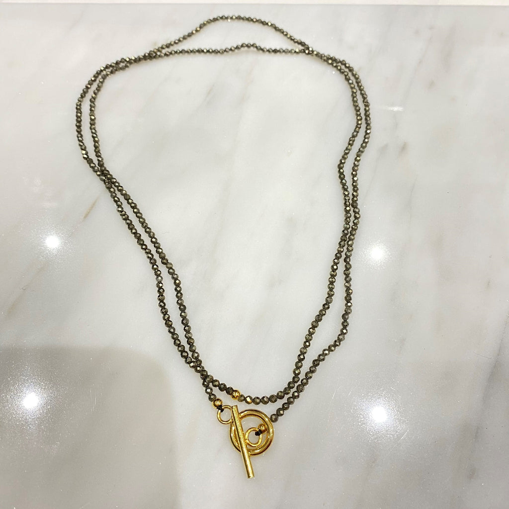 Long Necklace <br/> Precious Beads <br/> Olive Green