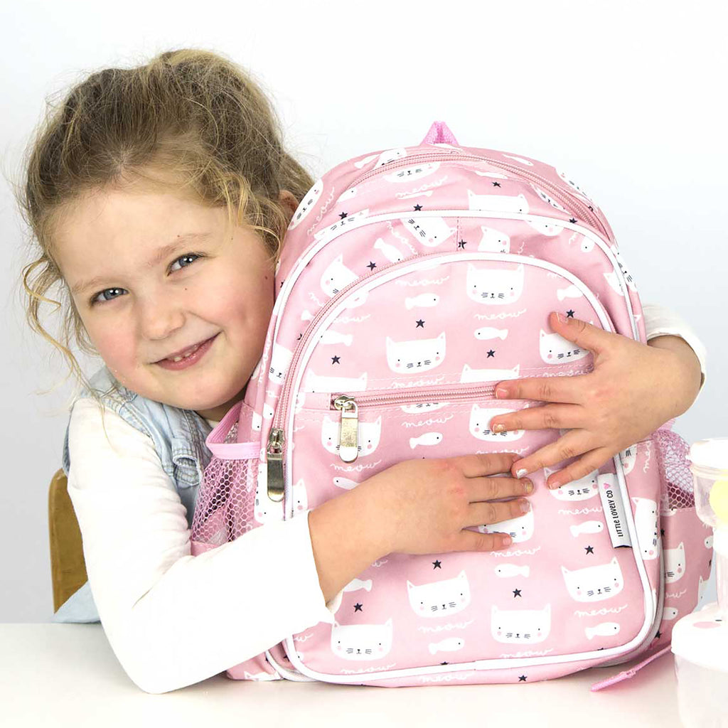 Pink Backpack with Cat prints from A Little Lovely Company