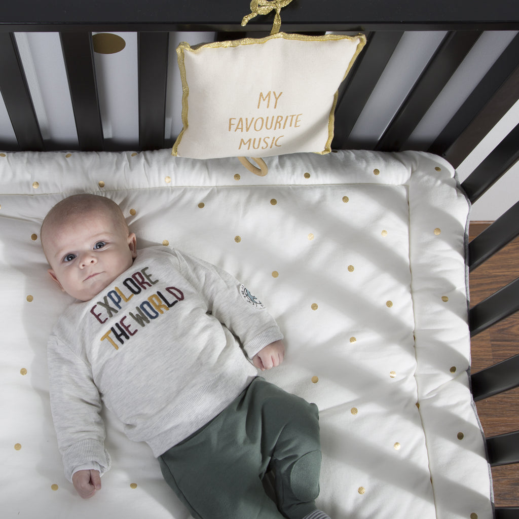 Playpen Mattress <br/> 75 x 95 cm <br/> Jersey Gold Dots