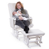Gliding Chair Round Beech Canvas <br/> White With Footrest