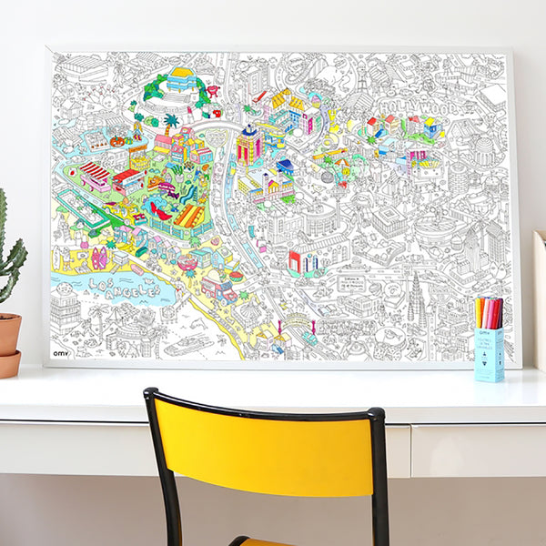 Decorative coloring poster, map of Los Angeles