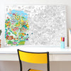 Decorative coloring poster map of Pays Basque