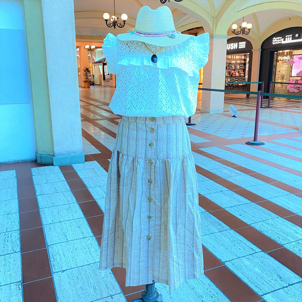 Juju <br/> Long Buttoned Skirt <br/> Pink Stripes