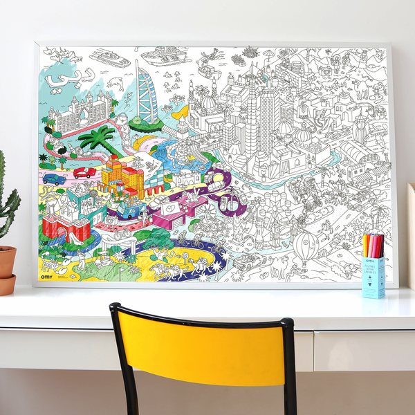 A very decorative colouring map of Dubai that you may frame after to display and preserve.
