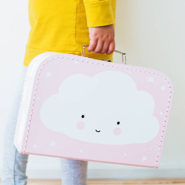 Pink Cardboard Suitcase with White Cloud Design