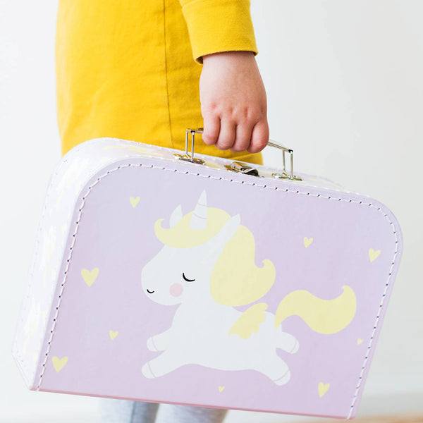 Pink Cardboard Suitcase with White Unicorn Design