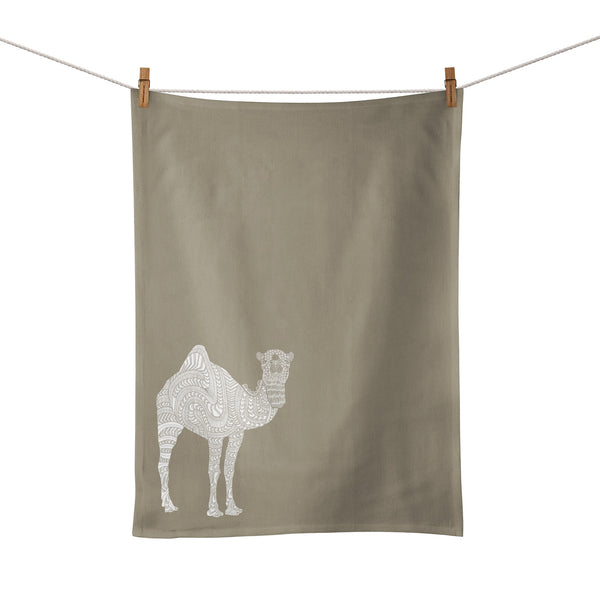 Linen Tea Towel <br/> White <br/> Camel