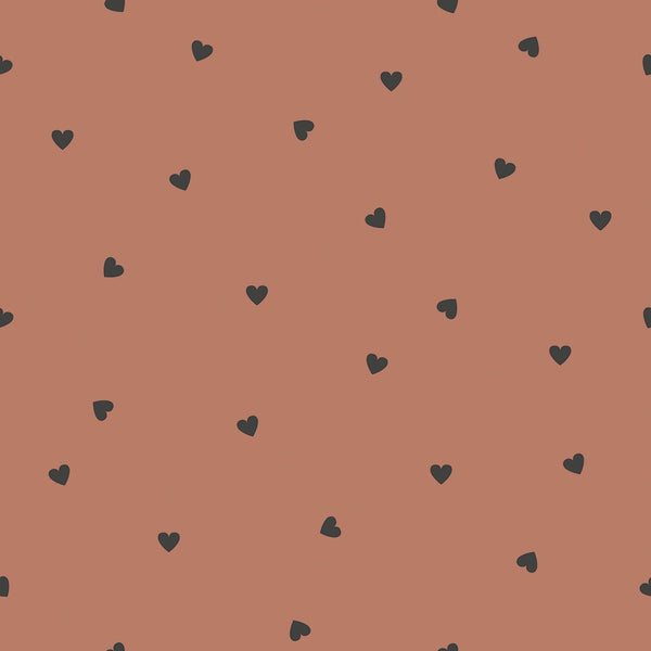 Wallpaper <br/> Black Hearts <br/> Terracotta