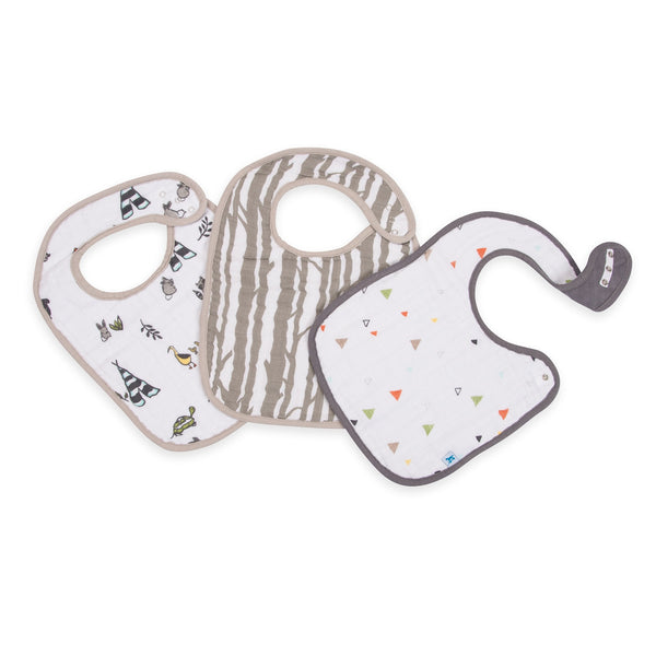 3 Pack Cotton Muslin <br/> Classic Bib Set <br/> Forest Friends