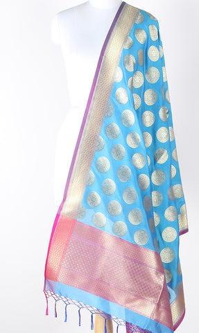 Azure Blue Art Silk Banarasi Dupatta with stylized circular motifs SSRVDAS562 (1) Main