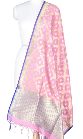 Baby Pink Art Silk Banarasi Dupatta with leaf jaal and floral motifs PCRVDAS204 (1) MAIN