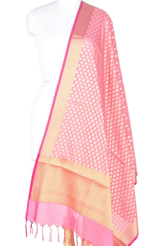 Baby Pink Art Silk Banarasi Dupatta with polka dots and zari work PCRVD01N75 (1) Main
