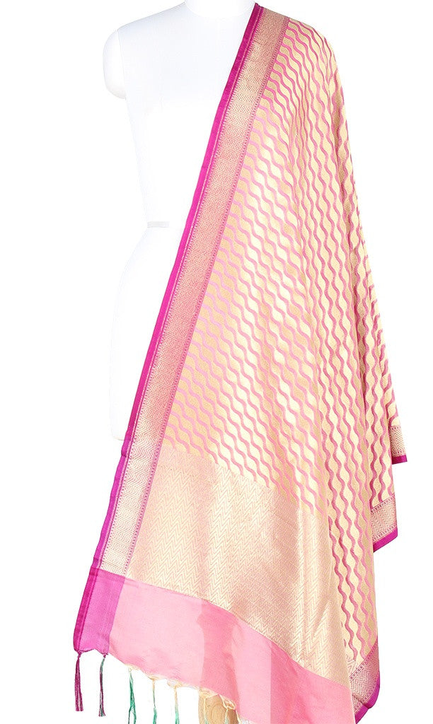 Baby Pink Art Silk Banarasi Dupatta with stylized diagonal jaal PCJB01N63 (1) MAIN