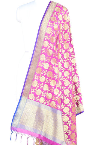 Baby Pink Art Silk Banarasi Dupatta with sunflower motifs (PCRVDAS07) (1) Main