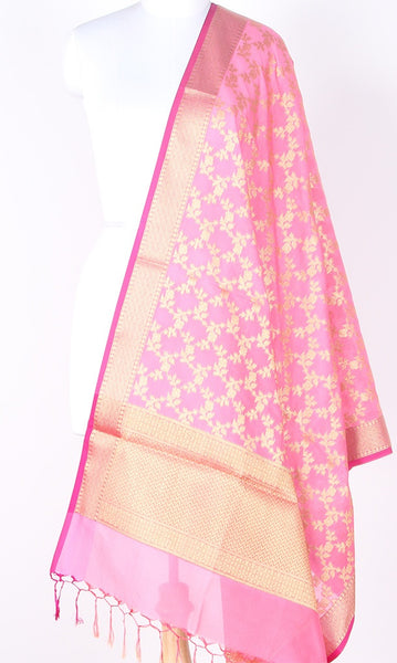 Baby pink Art Silk Banarasi Dupatta with Aesthetic floral jaal SSRVDAS01N13 (1) Main