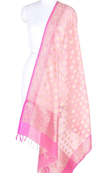 Baby pink Silk Cotton Banarasi Dupatta with leaf motifs and zari work PCPBD02SC12 (1) Main