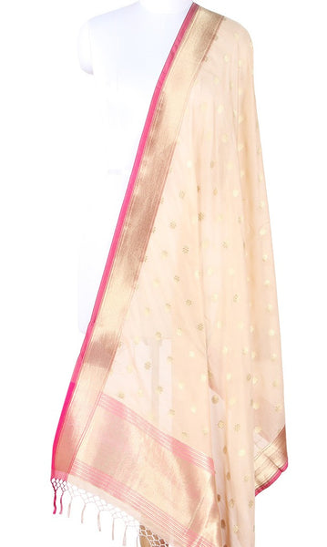 Beige Art Silk Banarasi Dupatta with flower motifs in gold zari SSRVDAS600 (1) Main